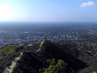 Beautiful mid-city Los Angeles views from the top of Runyon Canyon - one of the best hikes in LA